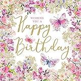 Home Collection Casa Cucina Decorazione Accessori Set 40 Tovaglioli Monouso Carta 3 veli 33 x 33 cm Motivo Wishing You a Happy Birthday