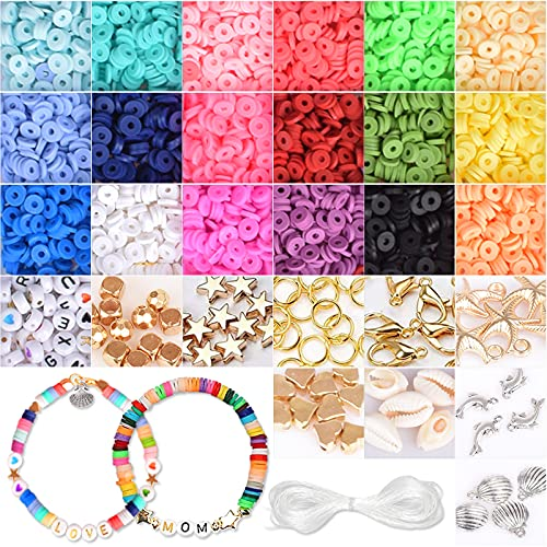 Perles pour Bracelet Bijoux Fabrication de Bracelet Kit Bijoux Création Loisirs Créatif Perles Multicolores avec Corde élastique pour Bracelet Collier Adultes Enfants