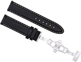 20MM SMOOTH LEATHER WATCH STRAP BAND DEPLOY FOR ROLEX DATEJUST SUB GMT BLACK WS