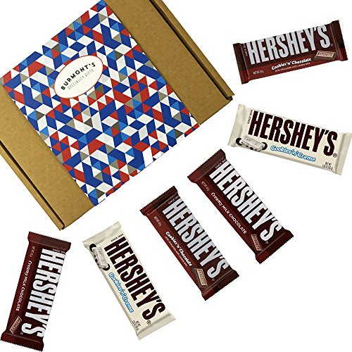 Hershey's Caja De Regalo Selección De Chocolates Americanos - 6 Tabletas - Chocolate Con Leche, Chocolate Con Galletas Y Chocolate Con Nata - Cesta Exclusiva Para Burmont's