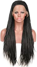Addcolo Cheap Braided Wigs Synthetic Lace Front Wig Black Color #1b Synthetic Wig Lace Front Replacement Full Wig for Women