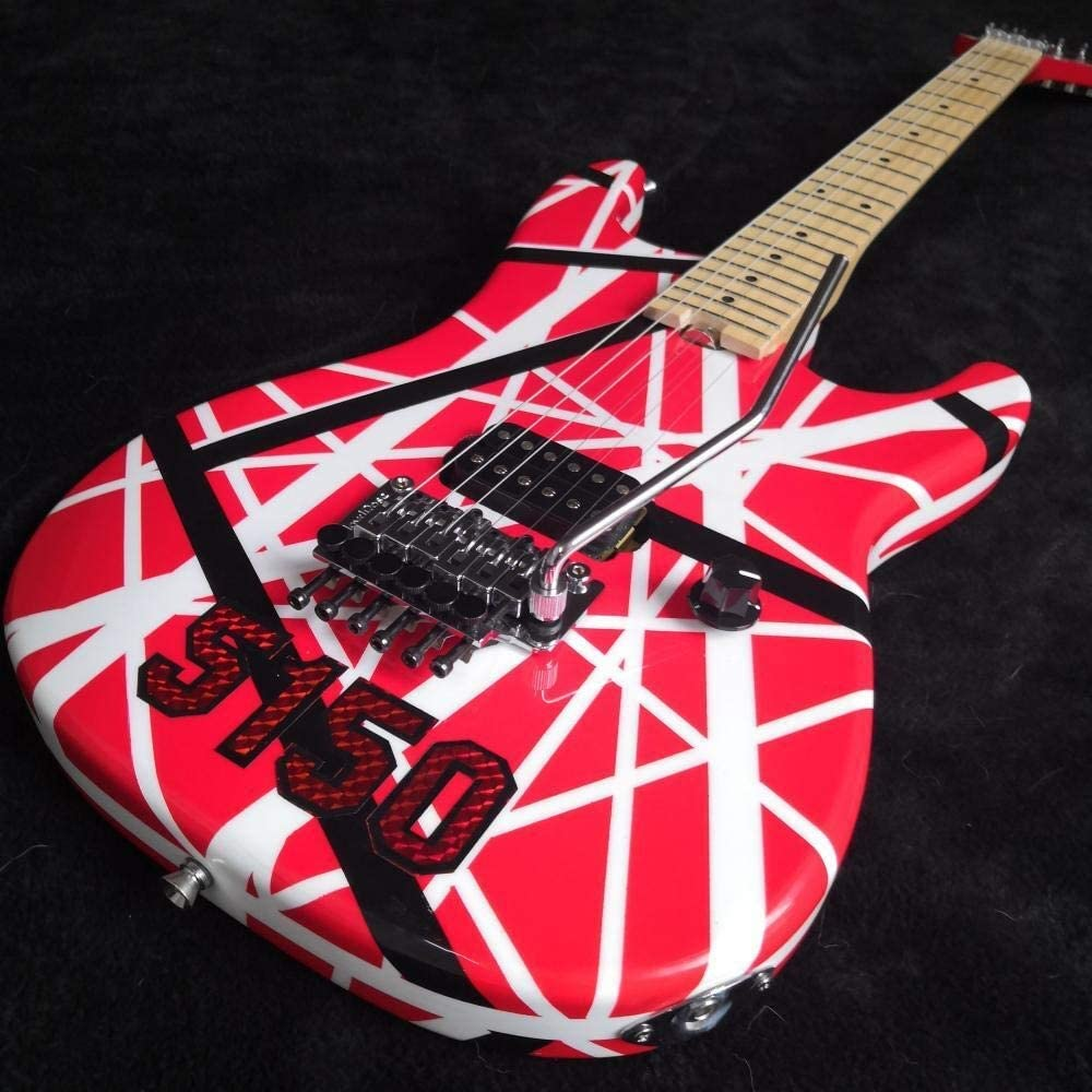 LYNLYN Guitarras Guitarra Eléctrica Roja A Rayas Blancas Tremolo CLOQUE DE Cerradura Cuello De Arce Y Diapasón Guitarra eléctrica