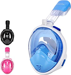 moyeeka Full Face Snorkel Mask Kids & Adult, Foldable 180° Easy Breathe and GoPro Compatible with Anti-Fog & Anti-Leak