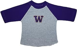University of Washington Huskies Baby and Toddler 2-Tone Raglan Baseball Shirt