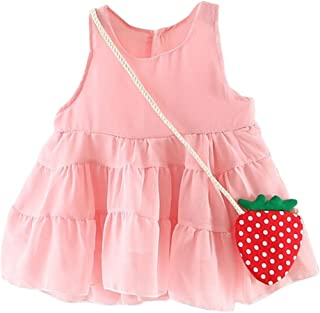 Tonsee 子供服 女の子 ワンピース プリンセスドレス 袖なし イチゴ バッグ 結婚式 七五三 プレゼント 70CM-100CM
