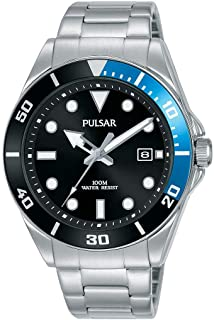 PULSAR - EU Men's Analogue Japanese Quartz Pulsar Diver-Inspired Dress Watch with Stainless Steel Bracelet with Stainless ...