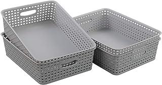 Kiddream Set of 4 Grey Plastic Storage Trays, Plastic Baskets for Desk Organizing