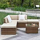IKAYAA - Juego de 6 sofás acolchados para exterior, muebles de jardín, sofá otomano de mimbre, ...
