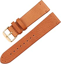 Vintage Genuine Leather Watchbands Dark Brown Smooth Wrist Watch Band Strap 18mm 20mm 22mm Belt with Stainless Steel Pin Buckle,Brown Gold Buckle,18mm