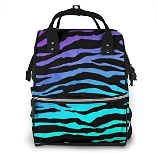 Gkhjlijpgyu Diaper Bag Purple Blue Green Camouflage Zebra Stripes Multi-Functional Portable Travel Backpack Nappy Bags for Baby Care, Water-Resistant, Large Capacity, Stylish, Durable