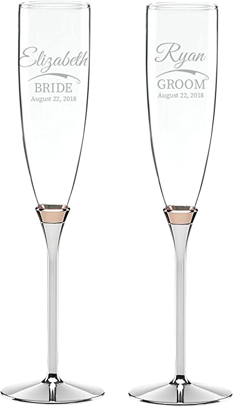 Kate Spade Rosy Glow Set Of 2 Custom Wedding Flutes Personalized Champagne Glasses Engraved Wedding Glasses