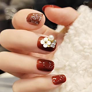 Sethexy Glossy Squoval Short False Nails Flower Glitter Rhinestone Studs Wine Full Cover Acrylic Fake Nails Tips for Women...