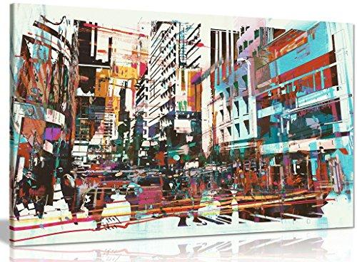 Kunstdruck auf Leinwand, abstrakt, moderne Kunst, Stadtbild, 76,2 x 50,8 cm