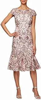 Alex Evenings Women's Tea Length Embroidered Dress with Godets