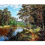 JKVDJS Forest River DIY Painting by Numbers Kit Imagen del Paisaje por Números Pintura Acrílica por Números para Decoraciones del Hogar, 40X50Cm Sin Marco