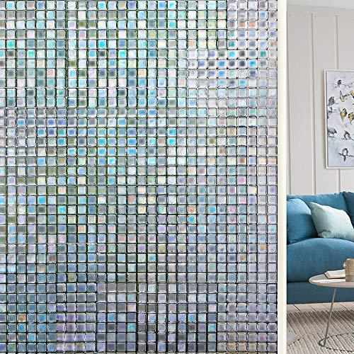 Amazon Brand - UMI Fensterfolie - 3D Milchglas Fensterfolien Selbstklebend Sichtschutzfolie, Mosaik Dekorfolie (44.5 x 200cm)