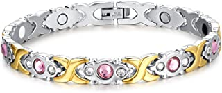 Chang World Womens Titanium Stainless Steel Magnetic Therapy Bracelet with Rhinestone,Gold