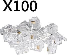 100PACK Telephone Plug 6P4C RJ11 Modular Plug (6/4, Telephone Cord Connector)