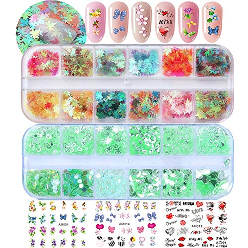 Holographic Nail Art Glitter Star Leaf Chunky Glitters Nail Sequins Flakes Water Nail Decals for DIY/Crafts (SET015A)