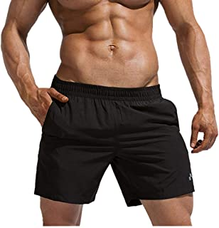 "Men's 5"" Athletic Shorts Breathbale Quick Dry Elastic Waistband Pockets Running Workout Broad Plain Beach Shorts by PERSOLE"