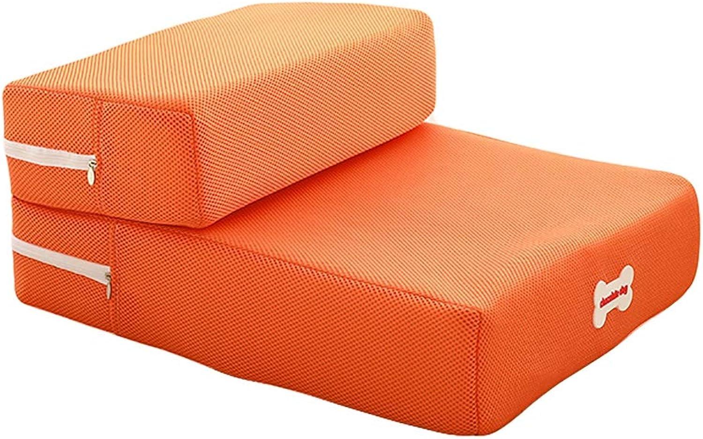 QARYYQ 2step pet stair small dog cat sofa cushion 48×40×20cm Pet Stairs (color   orange)