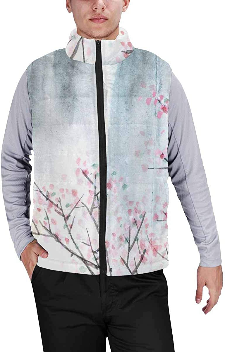 InterestPrint Men's Winter Full-Zip Outwear Padded Vest Coats Chickens and Yellow Flowers