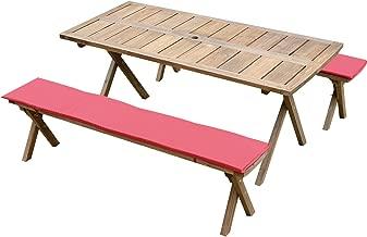 Rocking Table(ロッキングテーブル) デラックスピクニックテーブル 3点セット 150幅 ダークブラウン クッション(レッド)付き RXPT-150DB-C-RE