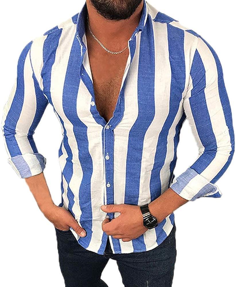 Camisa Casual a Rayas de Manga Larga para Hombres ...