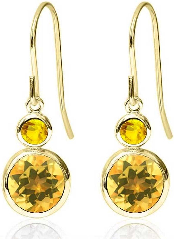 1.66 Ct Round Yellow Citrine Yellow Sapphire 14K Yellow gold Earrings