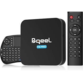 Bqeel Android 9.0 【4G+32G】 8K TV Box avec Mini Clavier Touchpad Amlogic S905X3 Box TV Y8 Pro, WiFi 2.4G/5G 100Mbps LAN Bluetooth 4.0 Box Android TV USB 3.0