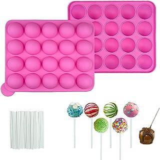 Moule Pop Cake, 20 Moule Sucette, Moulle Popcakes, Moules à Lollipop Bonbon, Moules À Sucettes en Silicone, Pop Cake, Moul...