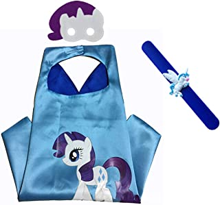 My Little Pony Costume Set—Cape, Mask and Pops Bracelet for Age 4-10 Kids