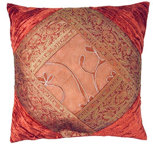 Guru-Shop Housse de Coussin en Brocart de Velours Oriental, Housse de Coussin, Coussin Décoratif 40x40 cm - Orange Rouille, Lecoton, Coussin Décoratif Coussin de Canapé