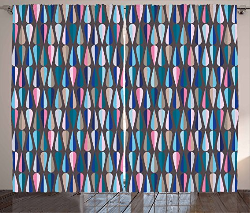 """Ambesonne Mid Century Curtains, Modern Style Retro Pattern with Droplet Shapes Mosaic in Tones, Living Room Bedroom Window Drapes 2 Panel Set, 108"""" X 63"""", Brown Blue"""