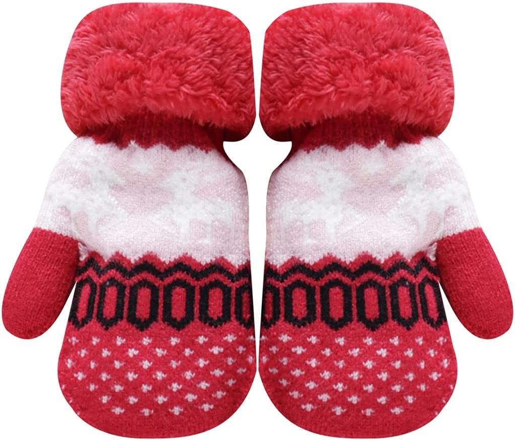 Lnrueg Christmas Winter Mittens Elk Hanging Protective Knit Mittens Warm Mittens with Lanyard for Kids Portable Party