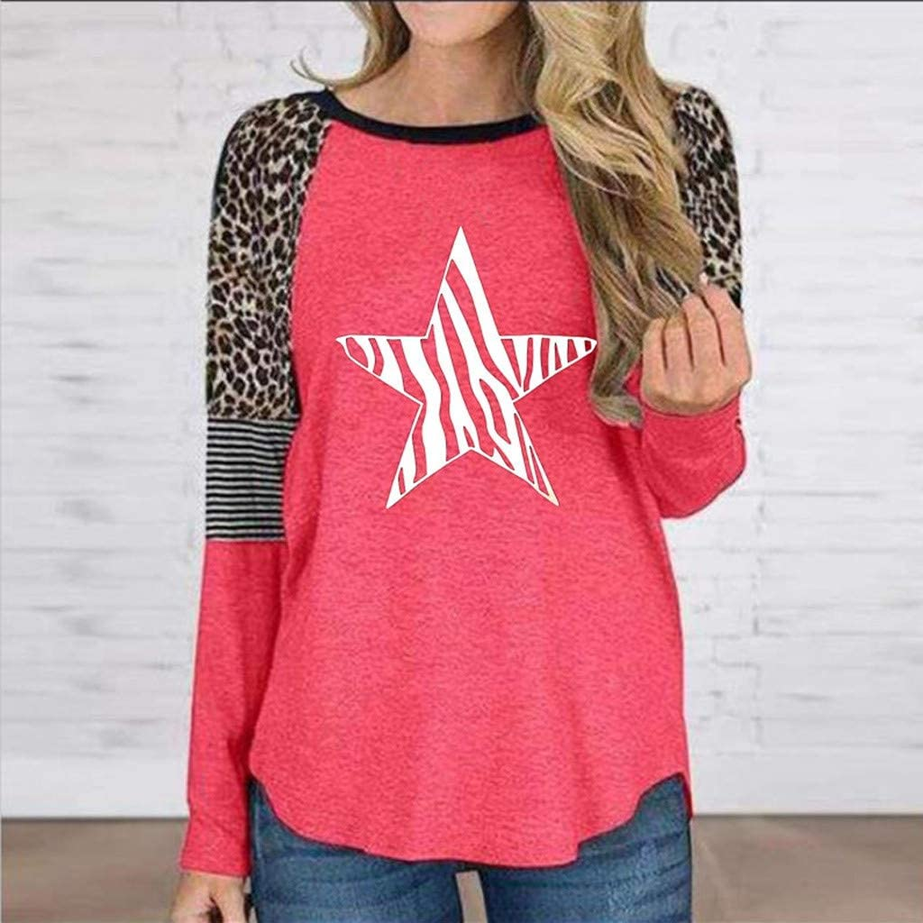 Long Sleeve O-Neck Tops Stars Leopard Printed Striped Splicing Pullover Casual Blouse F/_topbu Sweatshirts for Women