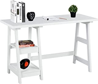Trestle White Computer-Desk with 2 Removable Storage Shelves Home Office Workstation Wood Study Writing-Desk White Kid Desk 46.8 x 19.9 x 29 inches, CAS004