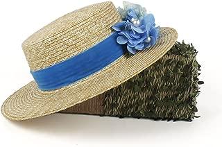 QinMei Zhou Straw Women Wide Brim Sun hat Fashion Lady Summer Beach Hat With Blue Flower