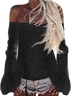 52f12a7e5ba Camisa De Manga Larga Mujer Encaje Camisas Elegante Moda Tops Vintage Sin  Tirantes Espalda Descubierta Casual