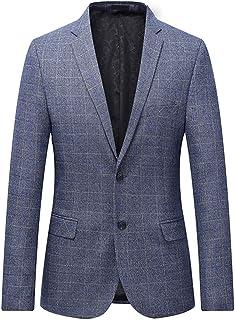 Allthemen Mens Casual Check Tweed Blazer Slim Fit Plaid Jacket Smart Formal Dinner Suits Jacket Men