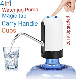 Single Star 4in1 Water Dispenser 1-5 Gallon Water Bottle Dispenser Pump Bundle, Set With Handle, Caps, Magic Tap Juice and Drinks - Portable Accessories For Refiling Bottles, Glasses.