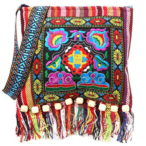 SimpleLife Clutch Handtasche, Cross Body Schultertasche mit Bestickt Design-chinesische Hmong Thai Stickerei Hill Tribe Totes Messenger Quasten Tasche Boho Hippie
