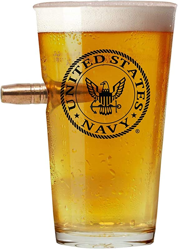 Officially Licensed Navy Pint Glass Hand Blown Glasses Real 50 Cal Design Navy Gifts 16 Oz