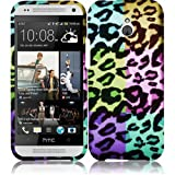 HR Wireless Rubberized Design Cover Case for HTC One Remix M8 Mini - Retail Packaging - Colorful Leopard