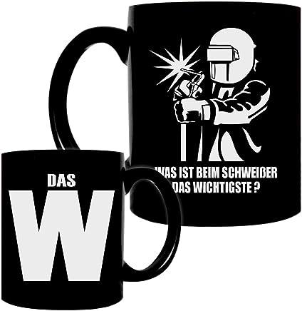 Preisvergleich für Kaffeetasse schwarz 0,3l große Tasse bedruckt mit Metallbauer Spruch Schweißer mit W