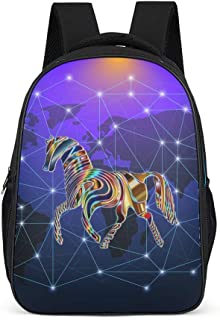 Lind8 Psychedelic Horse Backpack Cute Big College Bags - Magical Pattern Backpack Sports Use High Quality for Junior School Students Grey OneSize