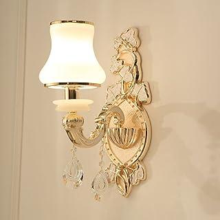 MX Light Fixture European-Style Zinc Alloy Crystal Living Room Bedroom Bedside Lamp (1 Lamp 2 Lights) (Size : Single Head)