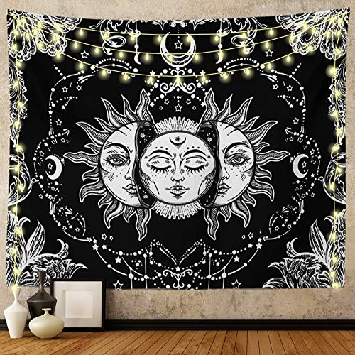 Ftuency Sun and Moon Tapestry, Black and White Tapestries Mystic Burning Sun with Star Wall Hanging decor for Bedroom (59'W x 51'L)