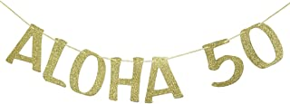 Aloha 50 Banner Sign Garland for 50th Birthday Anniversary Party Decorations Pineapple Party Decor Hawaiian Luau Tropical Theme Party Photo Prop Gold Glitter