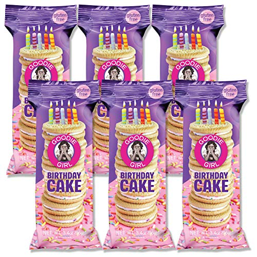 Goodie Girl, Birthday Cake Cookies | Snack Packs | Gluten Free | Peanut Free | Kosher | 3oz Bag, Pack of 6